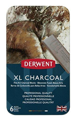Derwent XL Charcoal - Barras de carboncillo tamaño XL (6 unidades)