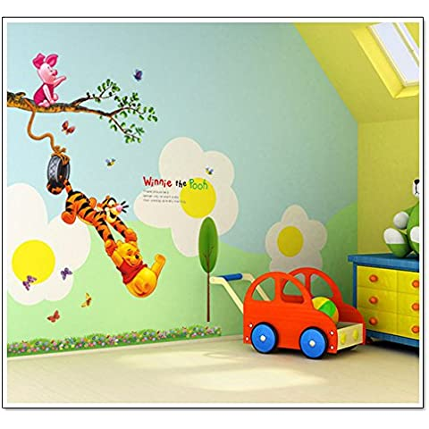 WallPicture XMK-A0054TX Art Adesivo da parete per cameretta dei bambini del cartone animato Disney Winnie the Pooh, a forma di ramo di