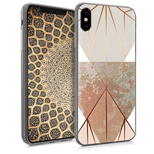 kwmobile Apple iPhone XS Hülle - Handyhülle für Apple iPhone XS - Handy Case in Glory Dreieck Design Beige Rosegold Weiß
