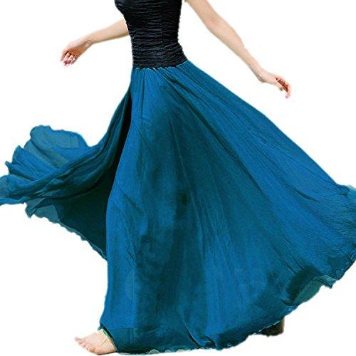 Minetom Femme été Bohème Style Longue Jupe élégante Jupe Chic en Mousseline de Soie Jupe Bleu