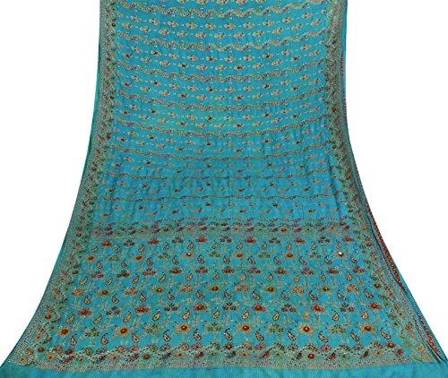 Seide Saree (Ethnische indische Weinlese 100% Seide Saree Blau Woven Sari Craft Fabric 5 Yds)