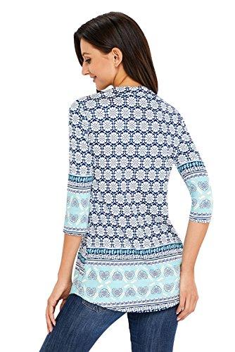 Happy Sailed Femme T-Shirt Chemisier à Manches 3/4 Col V Imprimé Fleur Lâche Tunique Blouse Casual Tops Chic Avec Boutons Vert