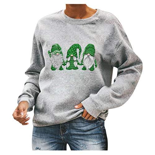 Weihnachten Damen Netter Lustiger Sankt-Benutzerbild Oversize Oberteile T-Shirt/Pullover Rundhals Langarmshirt Bluse Jumper Lose Tops Sweatshirt