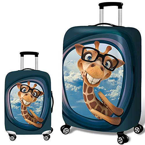 JFSKD Koffer Kofferschutzhülle,Einige schützende abnehmbare waschbare Deckel (kein Koffer), weiches wasserdichtes und staubdichtes Gepäck - Koffer für 18-32 Zoll Koffer,Giraffe,L