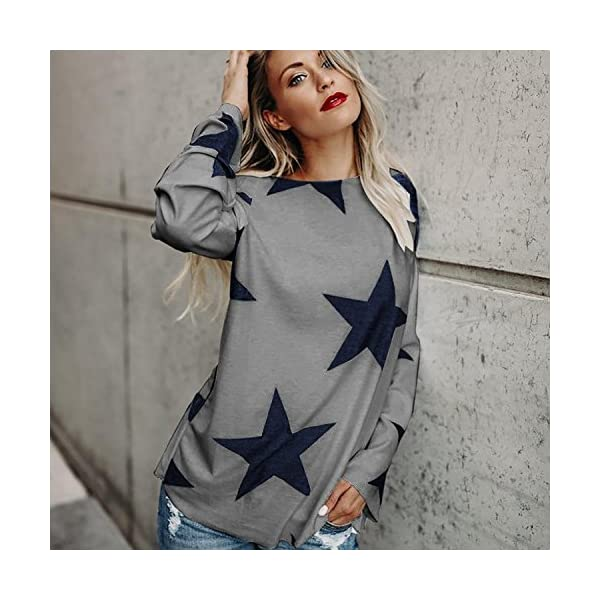 Women Long Sleeve T-Shirts Off Shoulder Star Printed Plain Baggy Tunic Loose Sweatshirt Pullover Tops Oversized Tee Shirts