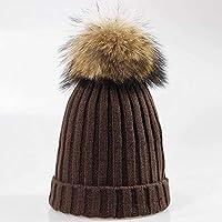 HAOLIEQUAN Nuevo Sombrero De Invierno Mapache Pom Pom Sombrero para Mujeres  Gruesas Mujeres Sombrero Gorras para da375efedc9