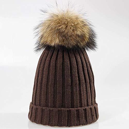 HAOLIEQUAN Nuevo Sombrero De Invierno Mapache Pom Pom Sombrero para Mujeres  Gruesas Mujeres Sombrero Gorras para 2b18b4ef1d9