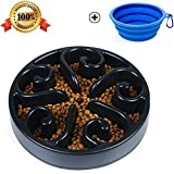 Pet Fun Feeder Dog Bowl Slow Feeder, Bloat Stop Dog Food Bowl Maze Interactive Puzzle Non Skid (Black)