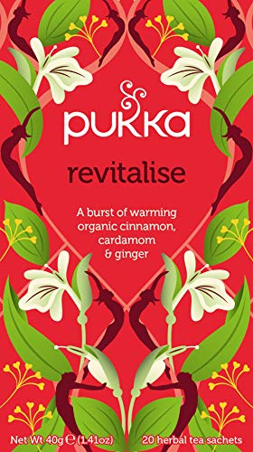 Pukka Revitalise, Organic Herbal Tea with Cinnamon, Cardamom & Ginger (4 Pack, 80 Tea bags)