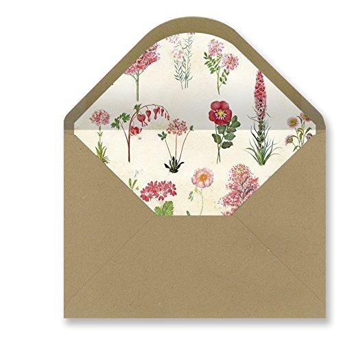 Sobres forrados invitaciones - KRAFT BOTÁNICA 229x162 mm. (rosa)