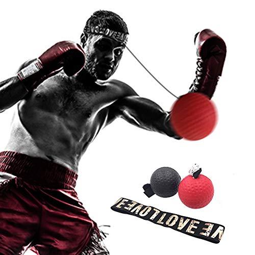 DAZISEN Boxing Reflex Ball - Professioneller Trainer Übungskampf Reflexball für das MMA Training,Rot+Schwarz(20 Gramm PU Ball) -