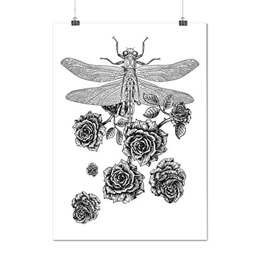 libellule-fleur-insecte-une-fleur-matte-glace-affiche-a2-60cm-x-42cm-wellcoda