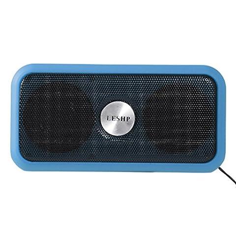 LESHP Enceintes Portable Bluetooth sans fil Haut-parleur Banque de Puissance 2600mAH FM recherche Automatique avec carte TF Appels mains libres taille compacte (Bleu)