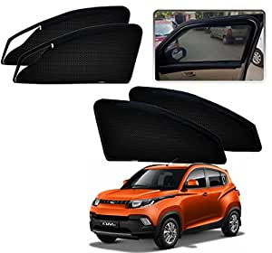 Auto Pearl Zipper Magnetic Sun Shades Car Curtain for Mahindra KUV 100 (Pack of 4)