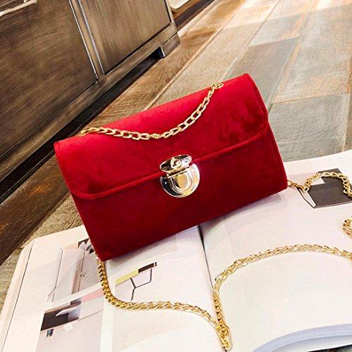 Longra Borsa a tracolla per borse a tracolla in velluto oro donna moda colore solido Rosso