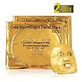 Aliver 2 Pack Maschera per il viso del collagene d'oro - anti invecchiamento, rughe, idratante, macchie, rassodanti, tonificanti, cerchi scuri, pelle liscia, ascensore naturale