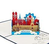 München - Klappkarte / 3D Pop-Up Karte - Reise-Gutschein, Grußkarte, Geburtstagskarte, Geldgeschenk, Glückwunschkarte, Gutschein-Karte, Urlaubskarte, Dankeskarte, Geschenkkarte, Andenken, Souvenir