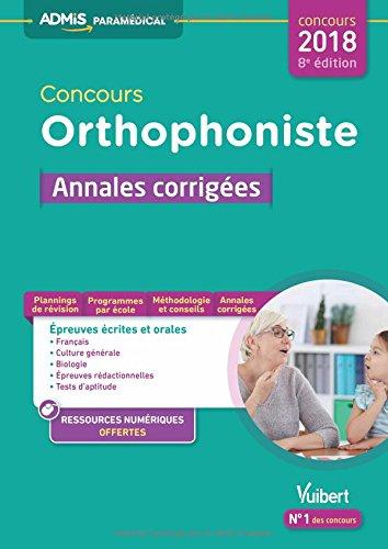 Concours orthophoniste : Annales corrigées - Concours 2018