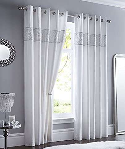 WHITE LINED CURTAINS EYELET RING TOP Luxury Faux Silk with Sequin & diamante trim (46 x 72