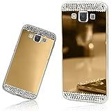 Xtra-Funky Série Samsung Galaxy A5 (2016 Modèle) mince TPU étui en silicone miroir brillant avec cristal diamantes scintillant de strass - Or