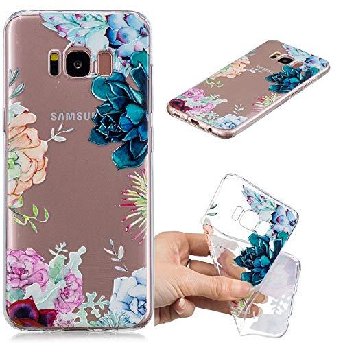 BONROY Samsung Galaxy S8 Hülle, Gemalt Series Transparent Weiche Silikon Schutzhülle TPU Bumper Case für Samsung Galaxy S8 - (HC-Gem Blume)