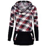 Yvelands Damen Langarm Plaid Bluse Pullover Farbblock Mit Kapuze Känguru Taschen Shirt Top Sweatshirt