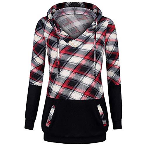 Langarmshirt Damen Bluse FGHYH Frauen-Lange Hülsen-Plaid-Pullover-Farben-Block-mit Kapuze Känguru-Taschen-Hemd-Oberseite(XXL, rot) - Farbe Block Tunika Top