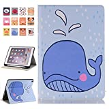 iPad Pro 12.9 Flip Case - Miya Cartoon Design Wallet Flip Case PU Leather Stand Folio Cover with Card Slots Smart Screen Protective Case for Apple iPad Pro 12.9 2017/2015,Dolphin