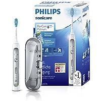 Philips Sonicare FlexCare Platinum Zahnbürste HX9111/20 - elektische Schallzahnbürste mit Drucksensor, 3 Putzprogrammen, 3 Intensitäten, Timer & Etui - schonend für Zähne & Zahnfleisch – Weiß