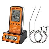 Guzack Grillthermometer, Digital 2 Sonden Haushaltsthermometer Fleischthermometer Bratenthermometer Temperatur Voreinstellung, Countdown Timer für Garten Grillen, Backen, Ofen usw