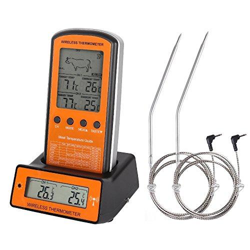 Guzack Grillthermometer, Digital 2 Sonden Haushaltsthermometer Fleischthermometer Bratenthermometer Temperatur Voreinstellung, Countdown Timer für Garten Grillen, Backen, Ofen usw (Thermometer Grillen)