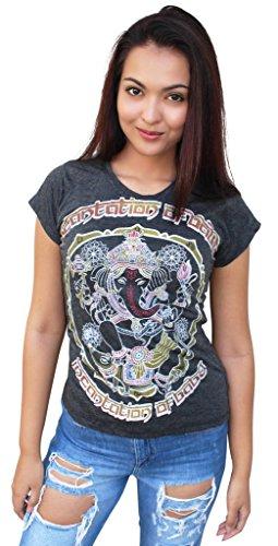 Yoga Tees - Omtimistic Damen Hindu Gott Ganesh Om Symbol T-Shirt Medium (Cute Hippie Outfit)