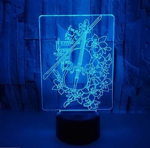 Violine 3D Nachtlichter 7 Farbe Touch Usb 3D Led Dekorative Tischlampen Fabrik Großhandel Hause Atmosphäre Lampe Musik Fans Geschenk