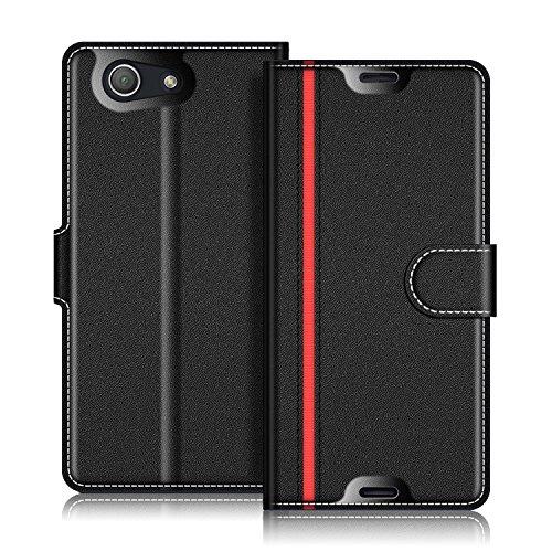 Coodio Sony Xperia Z3 Compact Hülle Leder Lederhülle Ledertasche Wallet Handyhülle Tasche Schutzhülle mit Magnetverschluss / Kartenfächer für Sony Xperia Z3 Compact, Schwarz/Rot