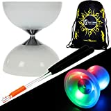 """Juggle Dream """"LUNAR-SPIN"""" GLOW-LED Diabolo für Anfänger mit Diablo Alu Handstäbe und Diaboloschnur +Tragetasche! Jongliergeräte / Diabolo Für Kinder"""
