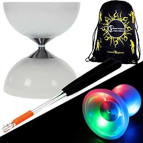 """Preisvergleich Produktbild Juggle Dream """"LUNAR-SPIN"""" GLOW-LED Diabolo für Anfänger mit Diablo Alu Handstäbe und Diaboloschnur +Tragetasche! Jongliergeräte / Diabolo Für Kinder"""