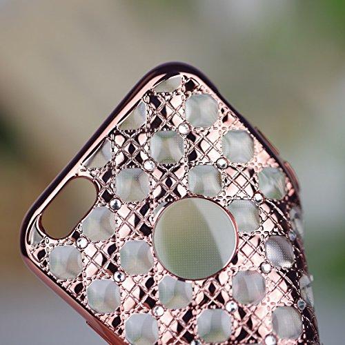 iPhone 6S Hülle,iPhone 6 Hülle,iPhone 6 Case,ikasus® TPU Silikon Hülle Schutz Handy Hülle Case Tasche Etui Bumper Crystal Case Hülle für Apple iPhone 6S / 6 (4,7 Zoll) Durchsichtig mit Christmas Snowf Diamant #1:Rose Gold