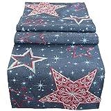 matches21 Weihnachtliche Tischläufer/Mitteldecke Sternen-Zauber dunkelgrau mit Druck & Stick rot & weiß 40x160 cm