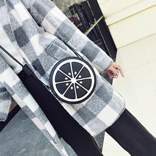 Koly_Le donne di moda mini circolare Tracolla Borsa in pelle Body Bag Nero