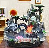 GL&G Steingarten Wasser Kreativ Aquarium Bonsai Indoor Tischbrunnen, Wohnzimmer Büro Harz Handwerk Tischszenen Ornamente Luftbefeuchter Teile High-End Geschäft Glücklich Geschenk,42*23*38CM
