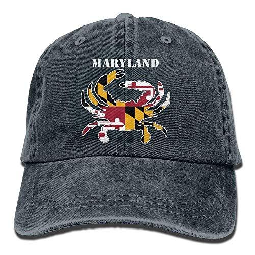 Männer Frauen Maryland Flagge Krabben Garn Gefärbte Denim Baseball Mütze Einstellbare Hip-Hop-Kappe QW919 -