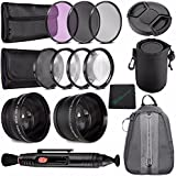 37mm 2x Telephoto Lens With Pouch + 37mm Wide Angle Lens + 37mm +1 +2 +4 +10 Close-Up Macro Filter Set With Pouch + 37mm 3 Piece Filter Set (UV, CPL, FL) + LENS CAP 37MM + Cleaning Cloth Bundle