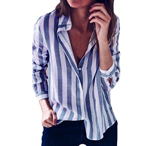 HARRYSTORE V-Ausschnitt Revers Gestreiftes Langärmeliges Hemd Mode Damen Gestreift Bedruckt Casual Top T Shirt Lose Langarm Bluse Funny Ruffle Sleeve Blouses Girls Halterneck T-Shirt (Blau, XL) (Cardigan Sleeve Ruffle Front)