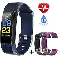 Pulsera Actividad,Impermeable IP67 Pulsera Inteligente con Pulsómetro, Reloj Inteligente para Deporte, Podómetro, Pulsera Deporte para Android y iOS Teléfono móvil para Hombres Mujeres Niños (Azul)