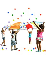 La maravilla de los niños paracaídas 10'pies diseño de lunares, W/24bolas: 6colores