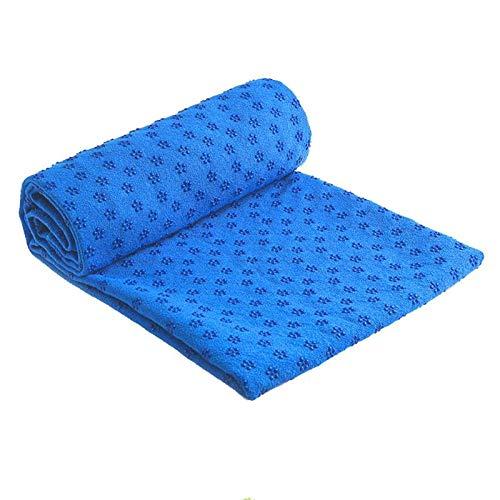 YOOMAT 183x63cm Rutschfeste Baumwolle Yoga Matte Teppich Pflaume Gepunktete Harz Handtuch Decke Schweiß absorbieren Handtuch für Sport Fitness Übung 4 Farben, blau - 63 Pflaume
