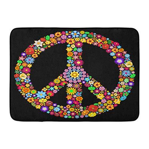 en Bunte Zeichen Peace Symbol Groovige Blumen Woodstock Hippie Psychedelic Durable Home Decor Mat 23,6 x 15,7 Zoll ()