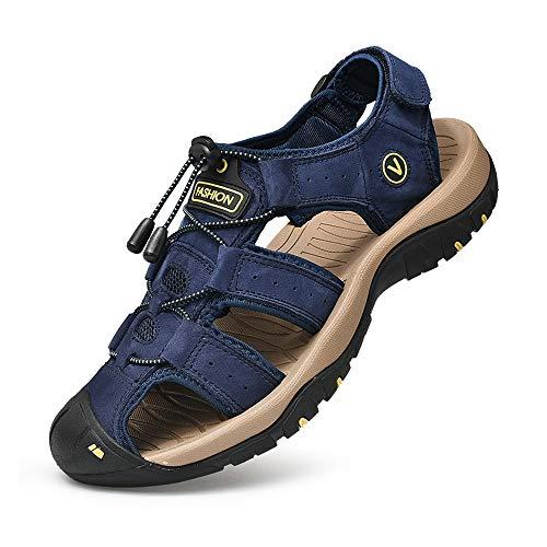 Sandalen Herren Leder Trekkingsandalen Outdoorschuhe Sommer Sport Freizeitschuhe Wanderschuhe Männer Sport-Outdoor Wasser Fischer Atmungsaktive Sandale Größe 38-48, Blau, 43 EU