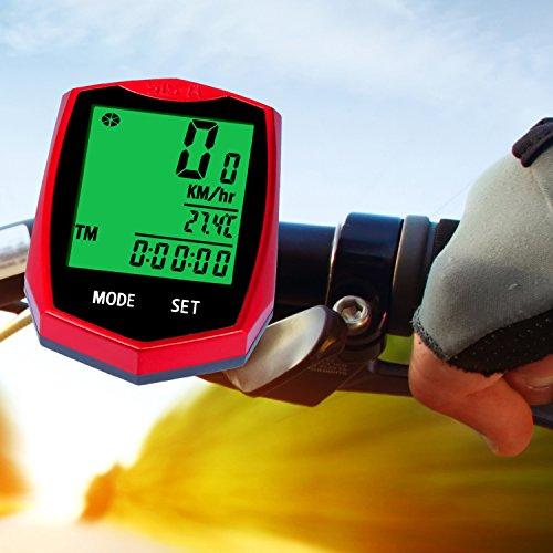 Fahrradcomputer, Fahrrad Computer Drahtloser, Kilometerzähler, automatische Wake-up Große Hintergrundbeleuchtung LCD Display (Red)