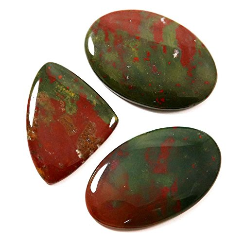 Gems&JewelsHub 124.90Cts Natur Blutstein Designer Edelstein Mix Cabochon 3PCS Großhandel